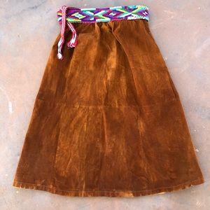 🔥HP🔥 Vintage Brown Suede Leather Skirt
